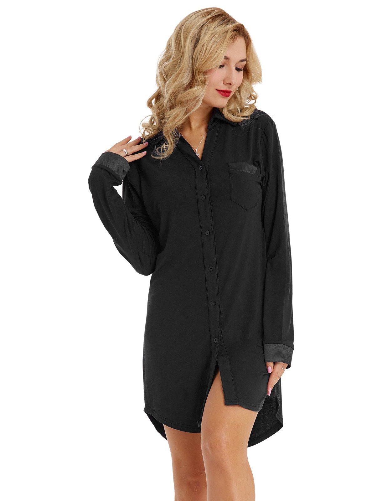 Zexxxy Women Modal Stretchy Nightgown Top Knee Length Boyfirend Style Black L