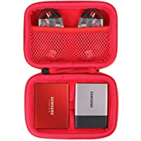 Hard Travel Case for Samsung T3 T5 Portable 250GB 500GB 1TB 2TB SSD USB 3.0 External Solid State Drives by co2crea (2-in-1 Case + Inside Red)