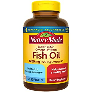 Nature Made Burp-Less Omega-3†† from Fish Oil 1200 mg Softgels, 120 Count (Packaging May Vary)
