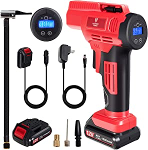 Goplus Portable Air Compressor Tire Inflator, 12V 150 PSI Cordless Car Air Pump Auto-Stop for Inflatables with LED Lghts, Rechargeable Battery, Digital Pressure Gauge and Car Power Adapter