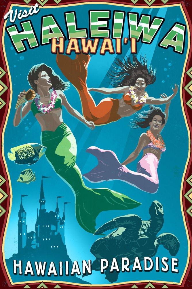 HALEIWA、Hawai ' i – Mermaids 36 x 54 Giclee Print LANT-52304-36x54 B017E9U0RC  36 x 54 Giclee Print