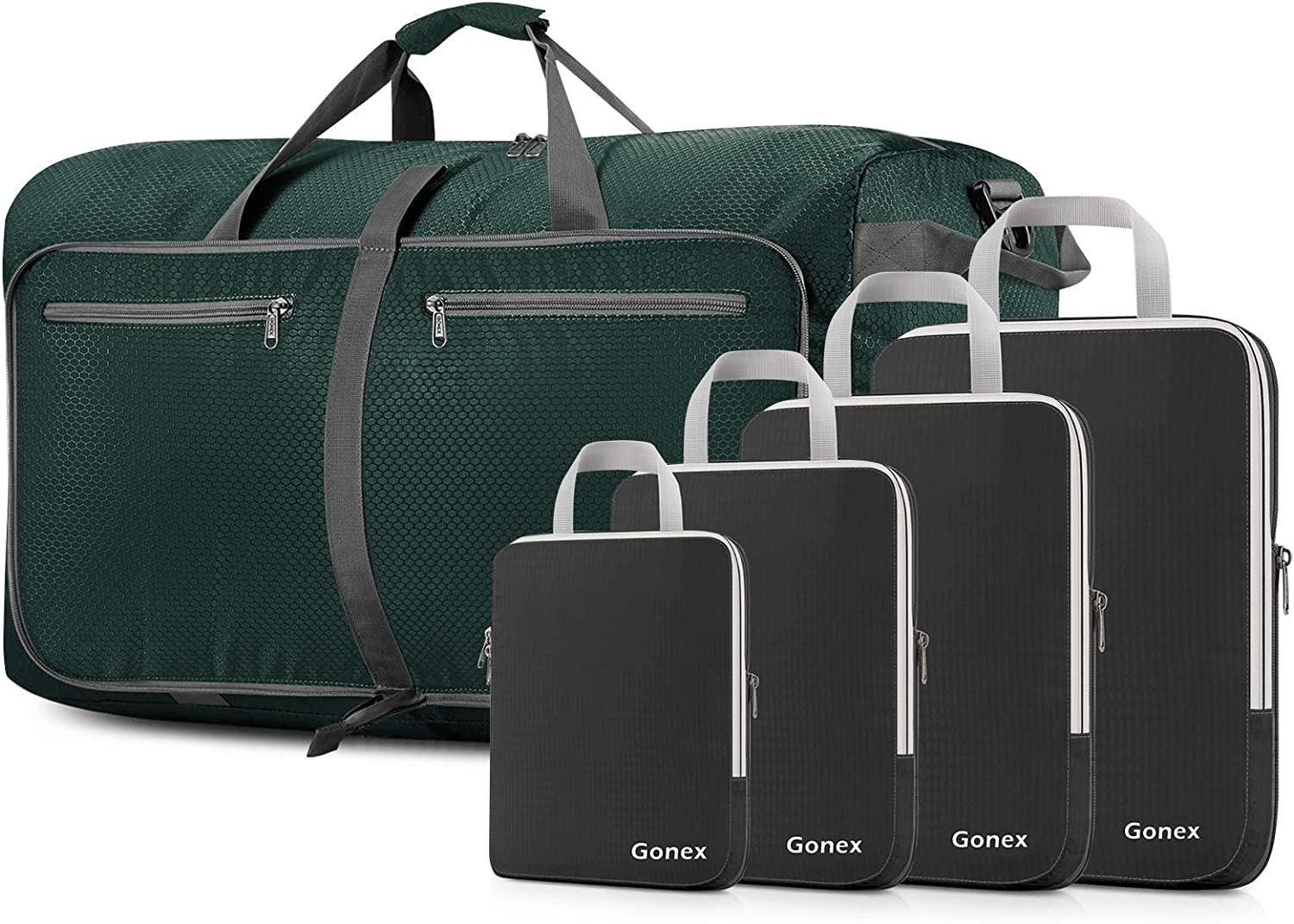 Gonex 4pcs Compression Packing Cubes Expandable Travel Bags Organizers Black With Travel Duffle Bag Green