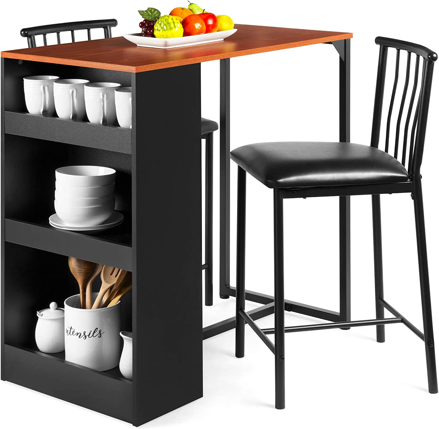 Amazon Com Best Choice Products 3 Piece 36in Wooden Counter Height Dining Table Set For Kitchen Dining Room W Storage Shelves Metal Frame 2 Barstools Espresso Table Chair Sets