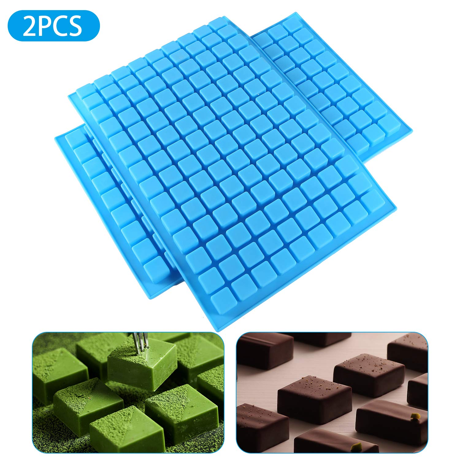 DIFENLUN Silicone Candy Molds, 2 Pack 126-Cavity Mini Square Chocolate Molds for Gummy Jelly Truffles Pralines Caramels, Ice Cube Tray Molds by DIFENLUN