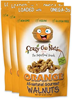 product image for Crazy Go Nuts Walnuts - Orange, 8 oz (3-Pack) - Healthy Snacks, Vegan, Gluten Free, Superfood - Natural, Non-GMO, ALA, Omega-3 Fatty Acids, Good Fats, and Antioxidants