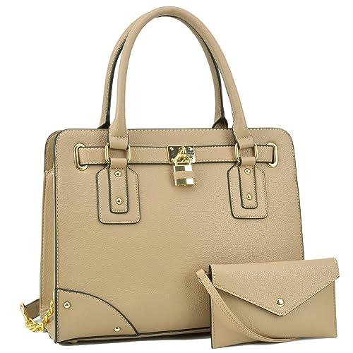 Top Handle Satchel Handbag Zip Purse Belted Padlock Vegan Bag w Chain  Shoulder Strap   22b89e14d54c2