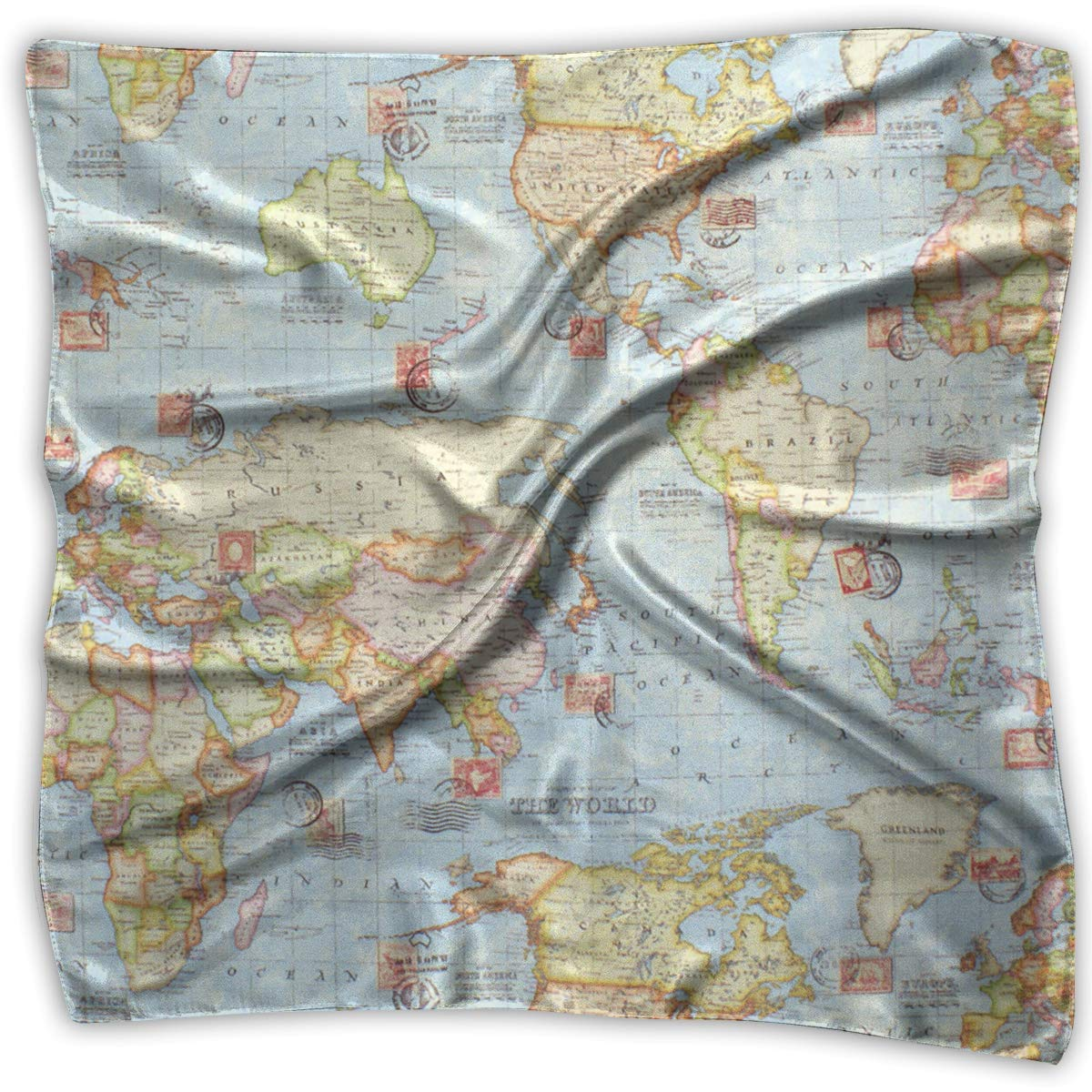 Atlas World Map Square Women Scarves Silk Skin Head Scarf For Spring Summer Size S M O4S8C71