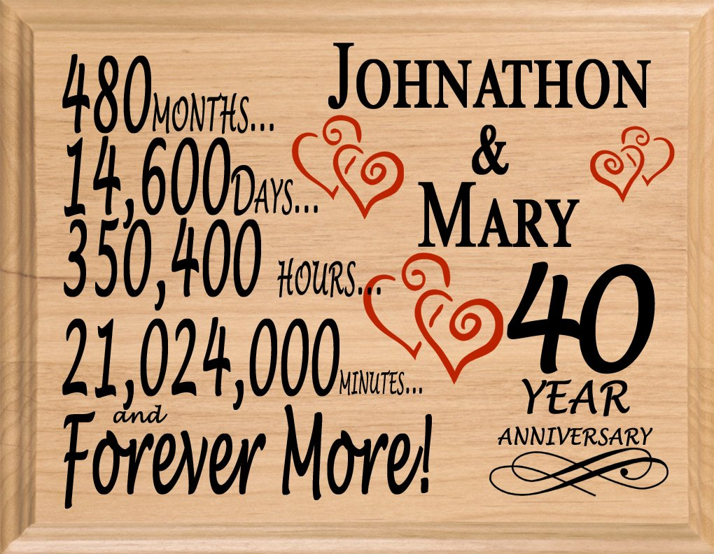 Broad Bay 40 Year Personalized 40th Anniversary Wedding Gift for Wife Husband Couple Him Her by Broad Bay