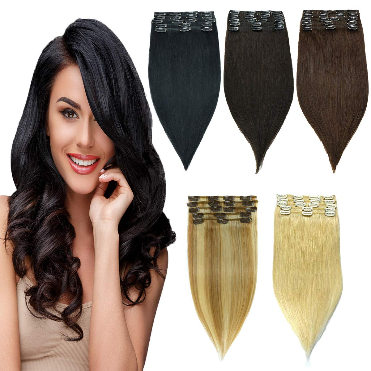 HAIRREAL Clip in Hair Extensions REMY Human Hair for Women 8pcs Set Full Head Natural Straight Real Hairpiece 14-22 Inch by HAIRREAL
