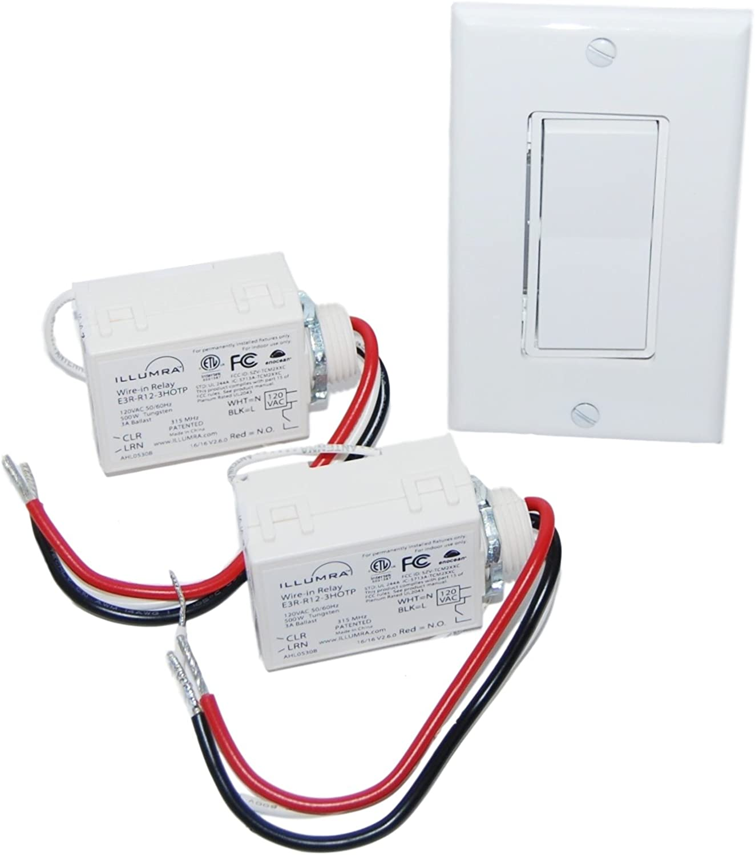 Wireless Light Switch Kit - Single Rocker Switch & 2 Relays - BATTERY FREE