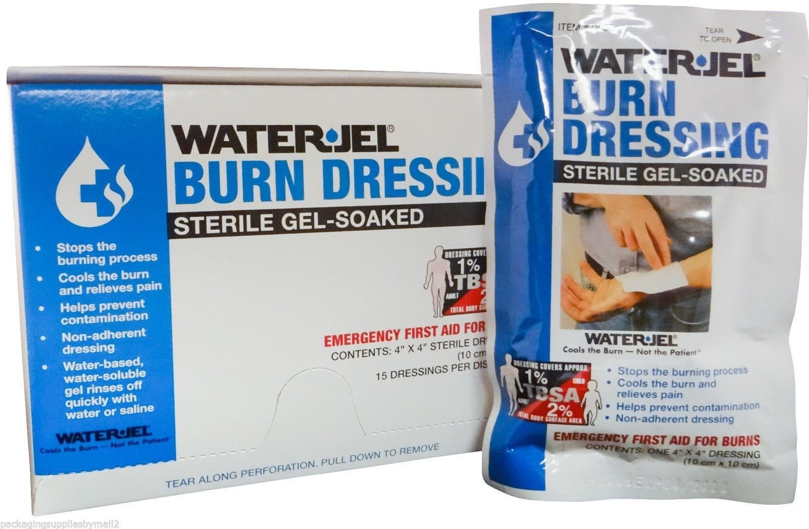 WATER-JEL - Burn Dressing - 4'' x 4'' - MS46220 (20 each) by Water Jel