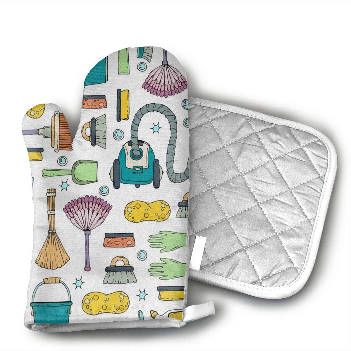 Star Blue Design Vacuum Cleaner Pattern Oven Mitts & Heat Resistant Pot Holder - with Polyester Cotton Non-Slip Grip, Best Used As Baking, Grilling, BBQ, Cooking, Kitchen Or Oven Gloves