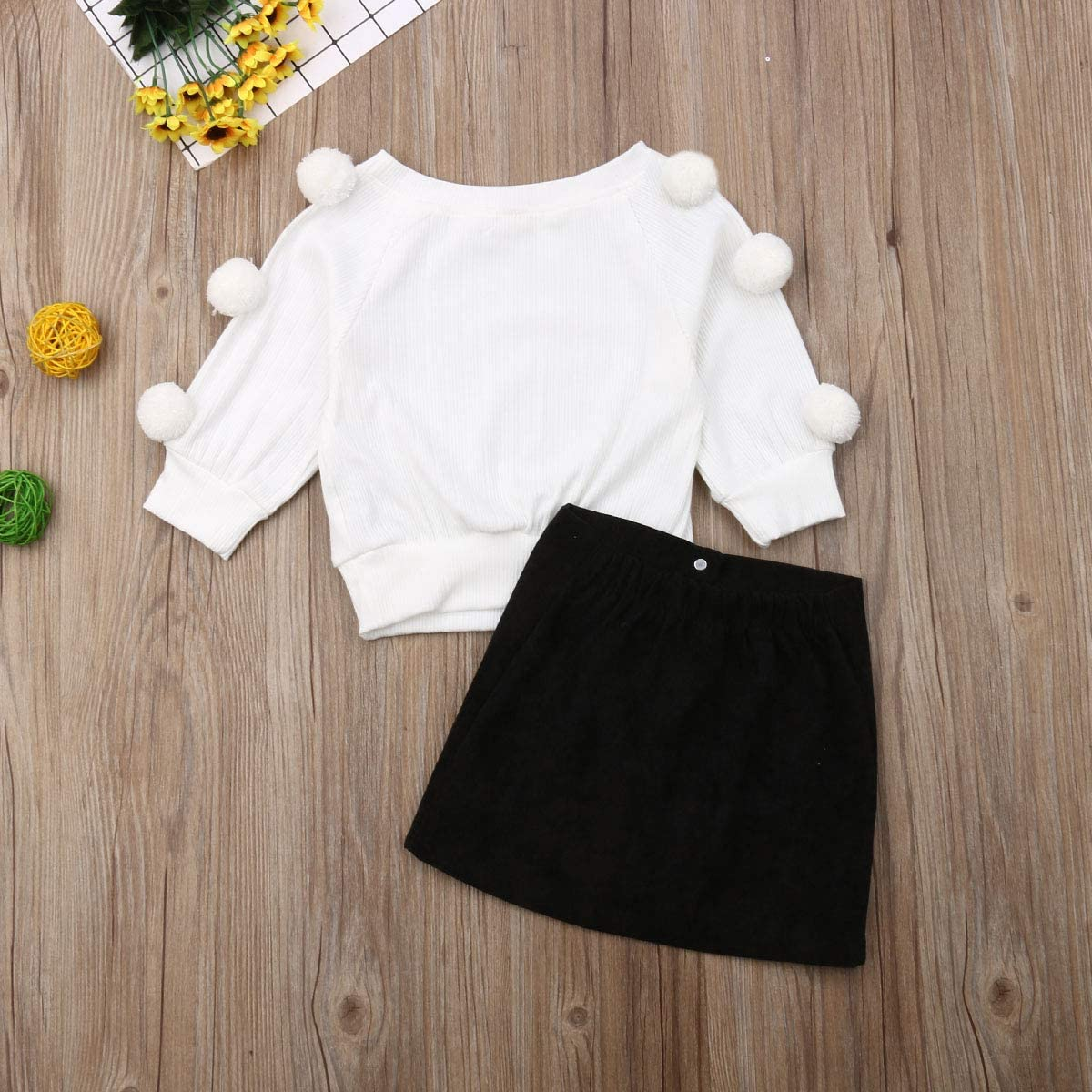 lheaio Toddler Baby Girl Fall Winter Skirt Set White Knitted Sweater Tops+Button Black Short Skirt Outfits Clothes