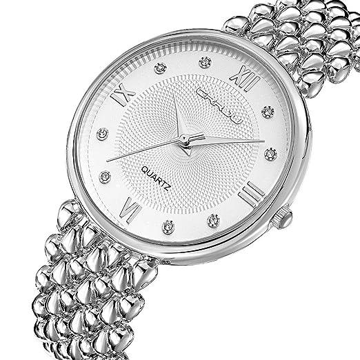 Fashion mujer relojes dorado acero inoxidable cuarzo señoras Relojes hora Montre Femme pulsera vestido reloj cj-2202g: Amazon.es: Relojes