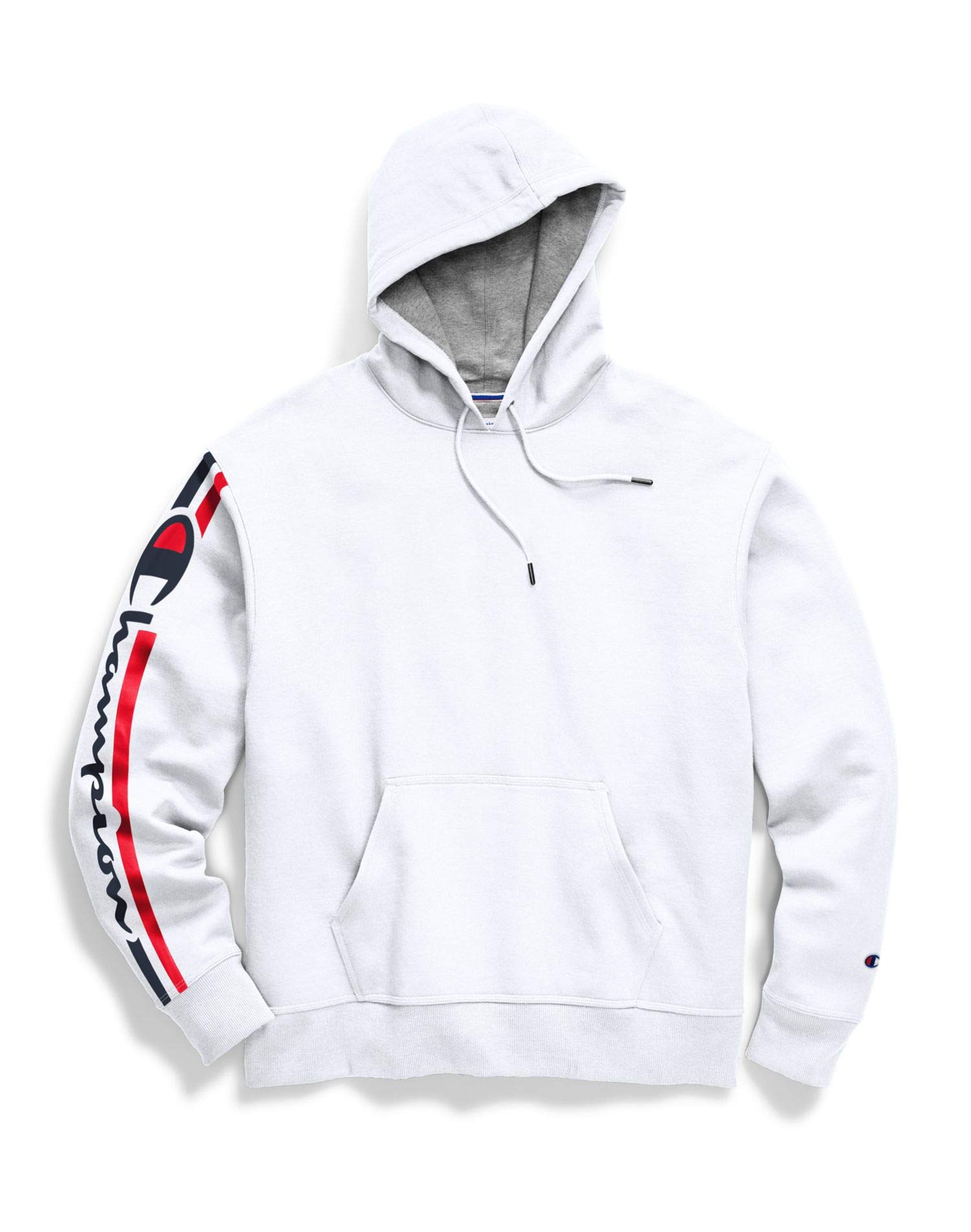 Champion Mens Powerblend Pullover Hoodie, XL, Vertical White by Champion