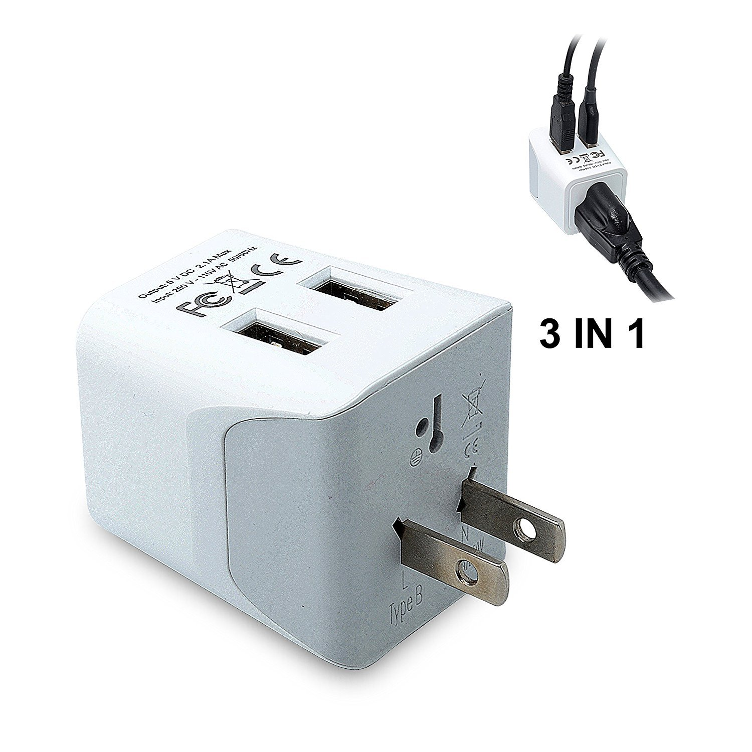 Ceptics CTU-6 USA to Japan, Philippines Travel Adapter Plug with Dual USB - Type A - Ultra Compact