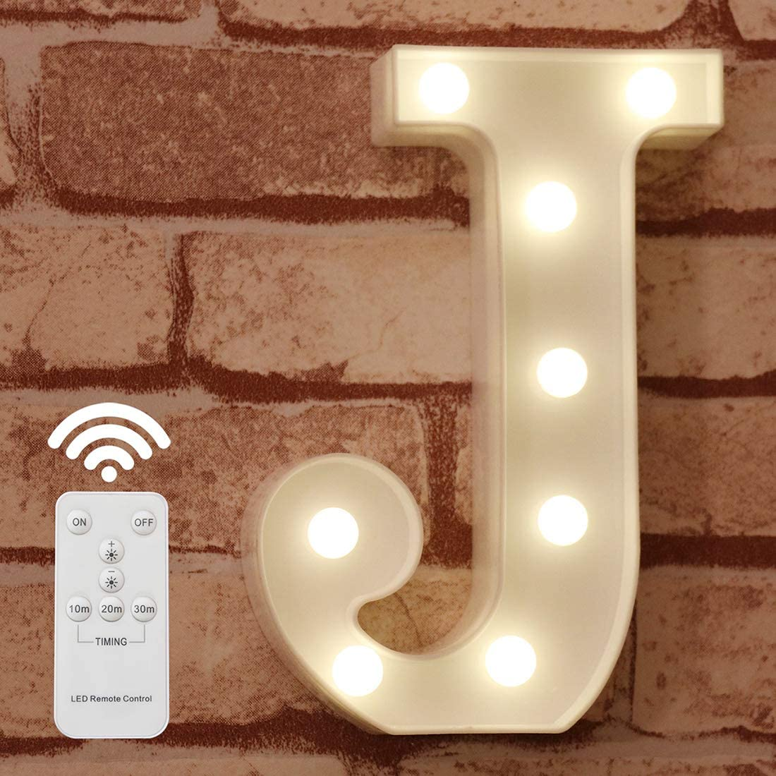 Pooqla LED Marquee Letter Lights Alphabet Light Up Sign with Wireless Timer Remote Control Dimmable for Wedding Home Party Bar Decoration - RC - J