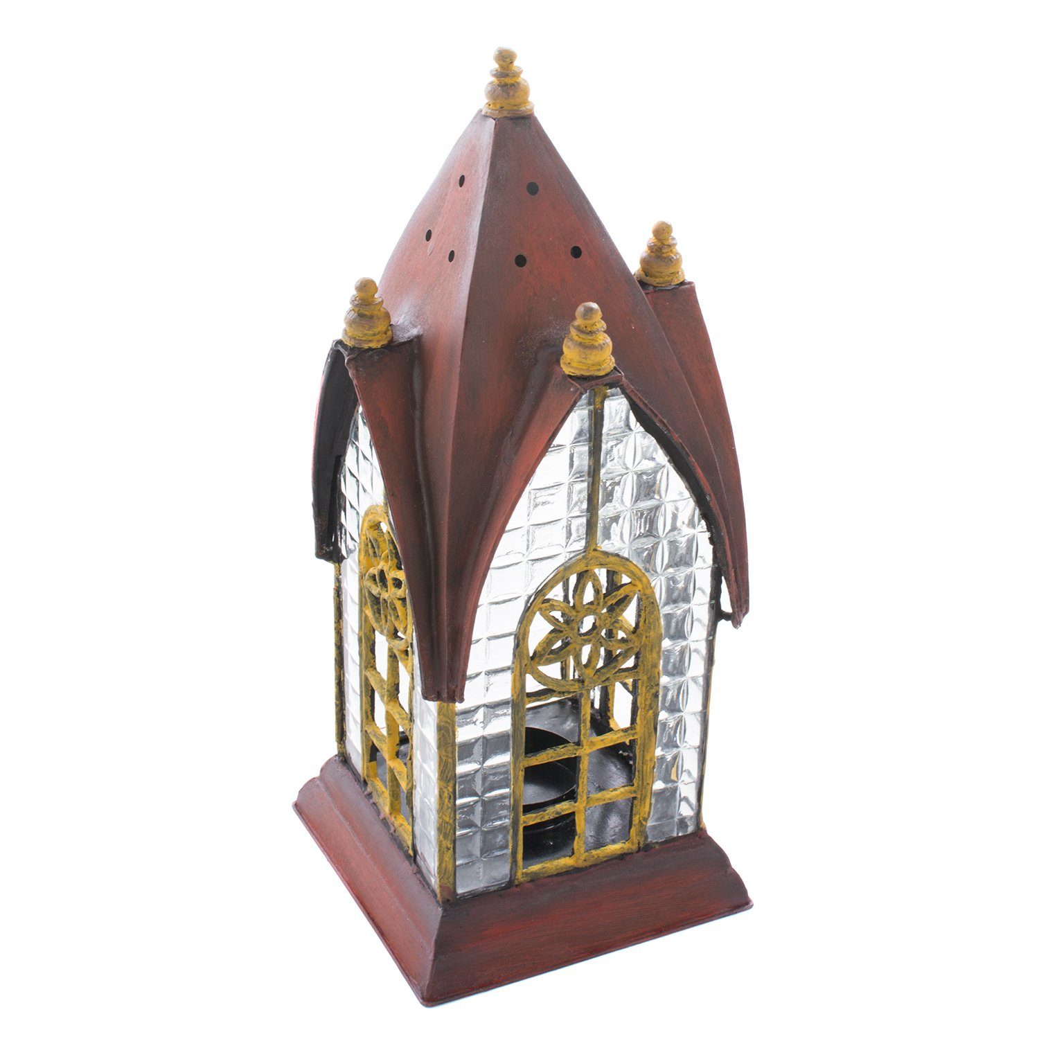 English Pembroke Red Architectural Lantern Tea Light Candle Holder - ChristmasTablescapeDecor.com