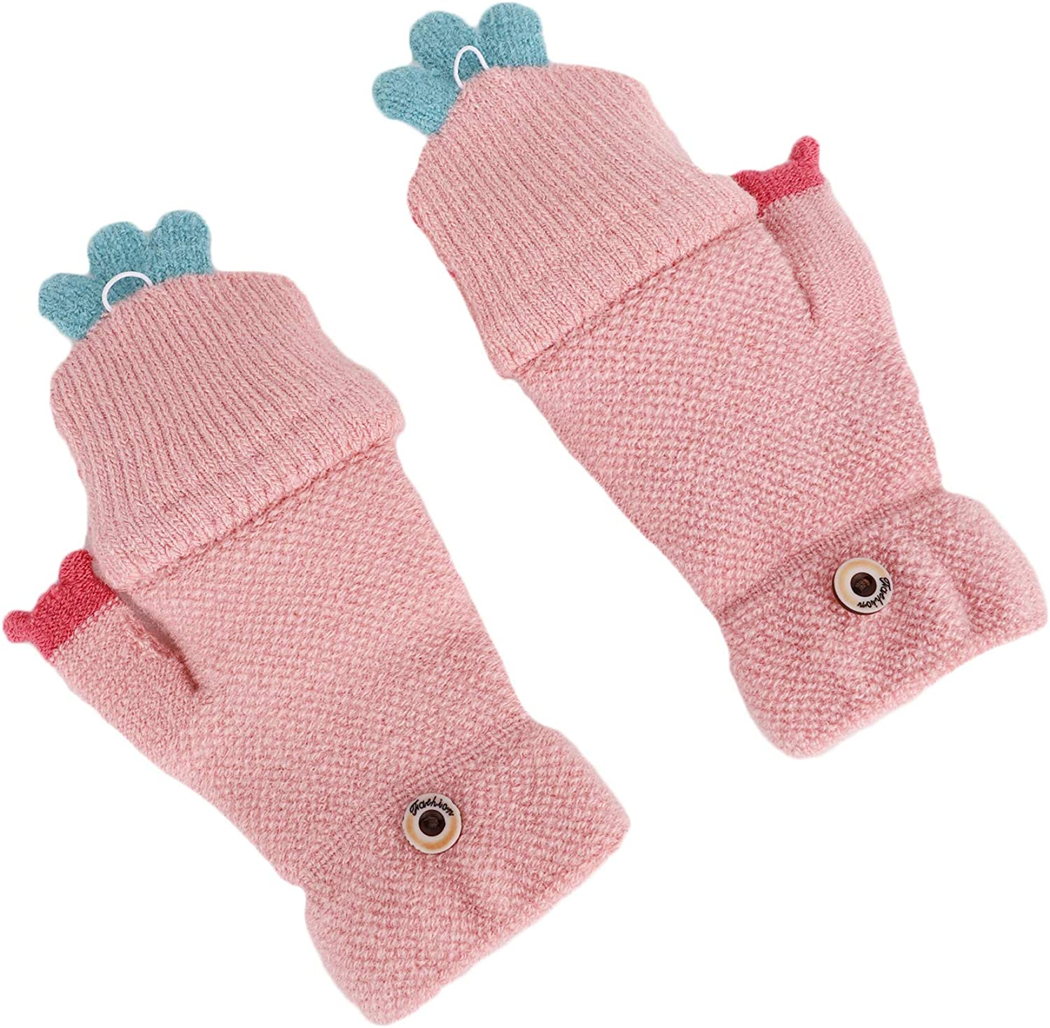 Kids Cute Carrot Knitting Fingerless Gloves Warm Flip Top Mittens Christmas Gift