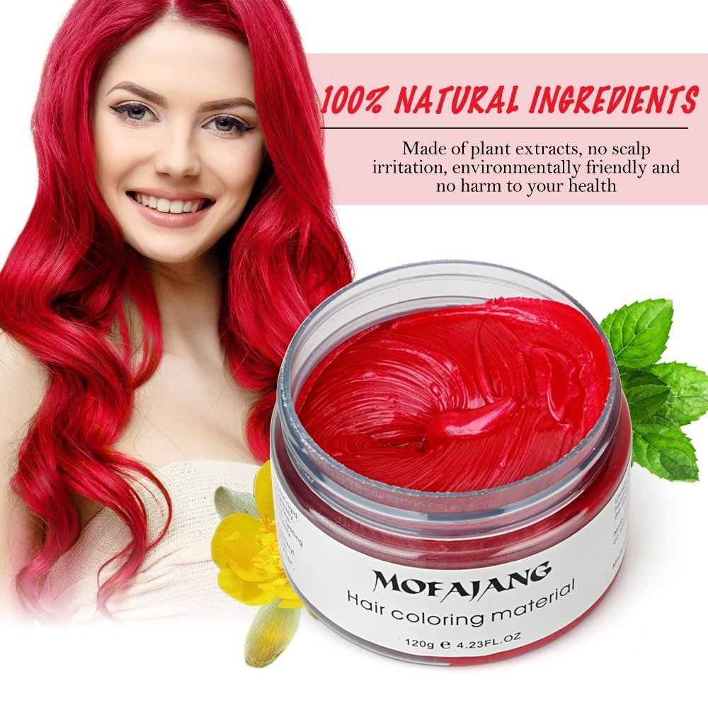 MOFAJANG Hair Coloring Dye Wax, Instant Blue Hair Color Wax, Efly Temporary Hairstyle Cream 4.23 oz Hair Pomades Hairstyle Wax for Men and Women (Blue)