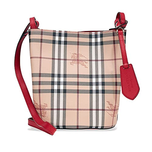 5a2b1489571 Burberry Lightweight Leather and Haymarket Check Bucket Bag- Red:  Amazon.ca: Shoes & Handbags