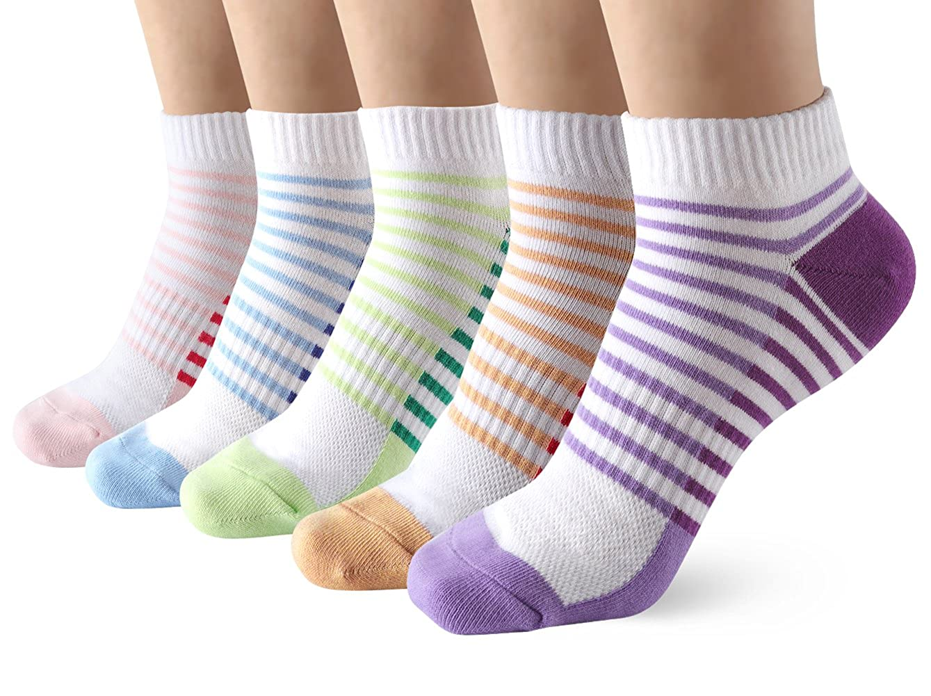 Low Cut Ankle Trainer Socks for Women - 5 Pairs Breathable Stripe Sneaker Socks for Casual Running Walking Fitness Outdoor Sports
