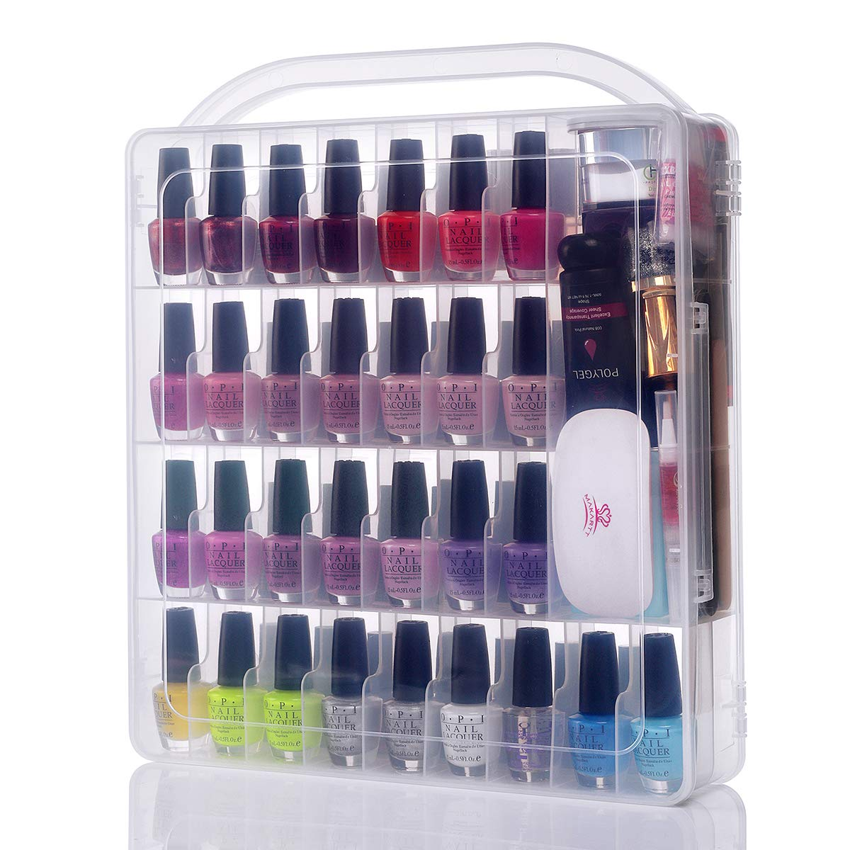 Amazon Com Makartt Large Gel Nail Polish Organizer Poly Nail Extension Gel Nail Tools Holder For 60 Bottles With Large Separate Compartment For Manicure Tools See Through Universal Nail Polish Case N 03