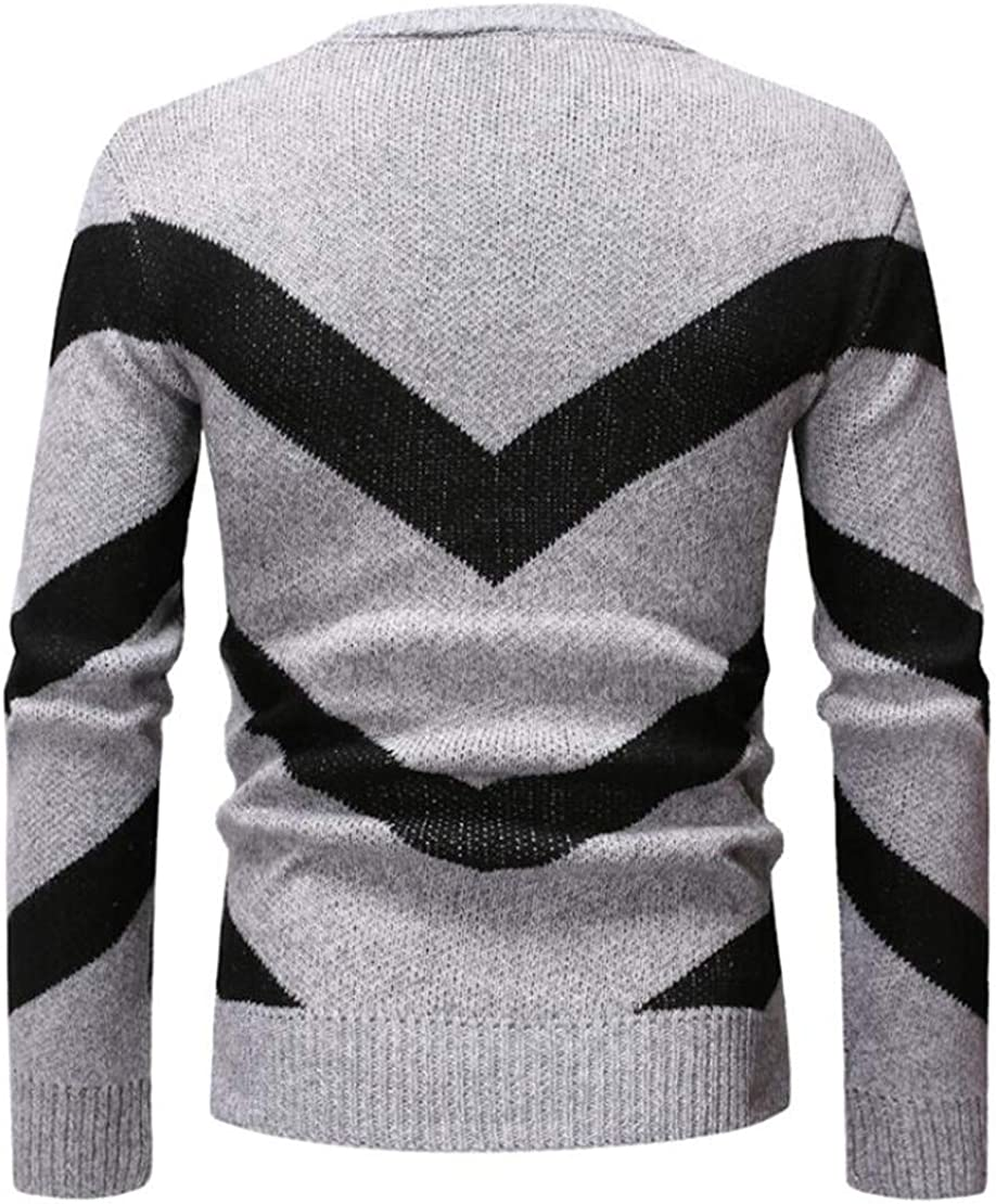 XiaoTianXinMen XTX Mens Knitted Casual Contrast Color Long Sleeve Pullover Sweater