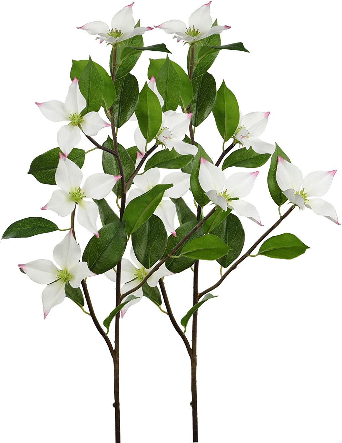 Rinlong Artificial Flowers White Silk Dogwood Flower Branches for Baby Shower Wedding Ceremony Decor Home Kitchen Table Centerpiece Bedroom Decoration