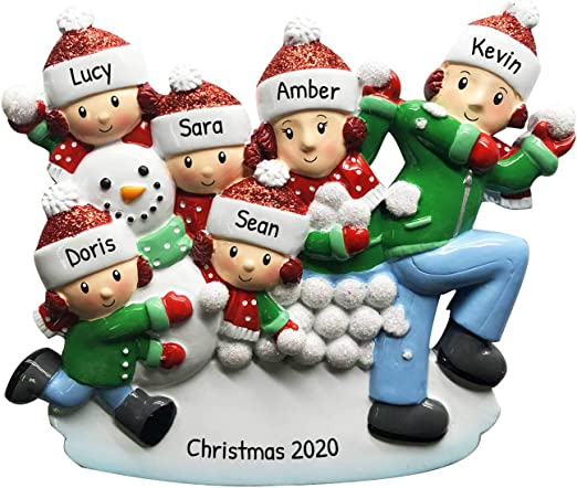 Christmas Day And Snowing 2020 Amazon.com: Personalized Family of 6 in Snowball Fight Christmas