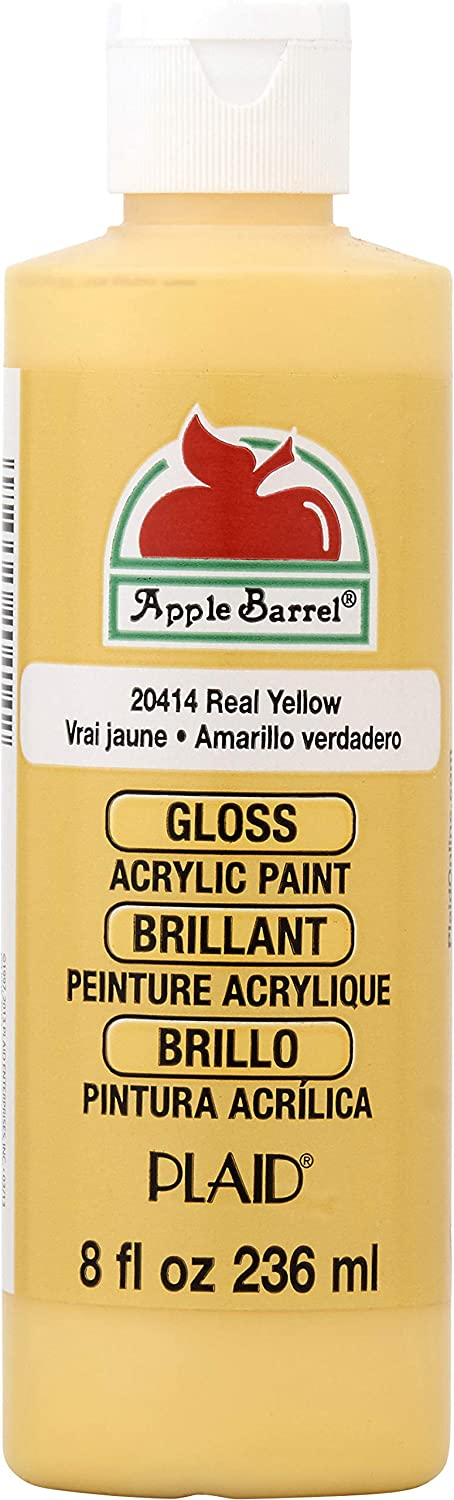 Apple Barrel Gloss Acrylic Paint in Assorted Colors (8 oz), Gloss Real Yellow
