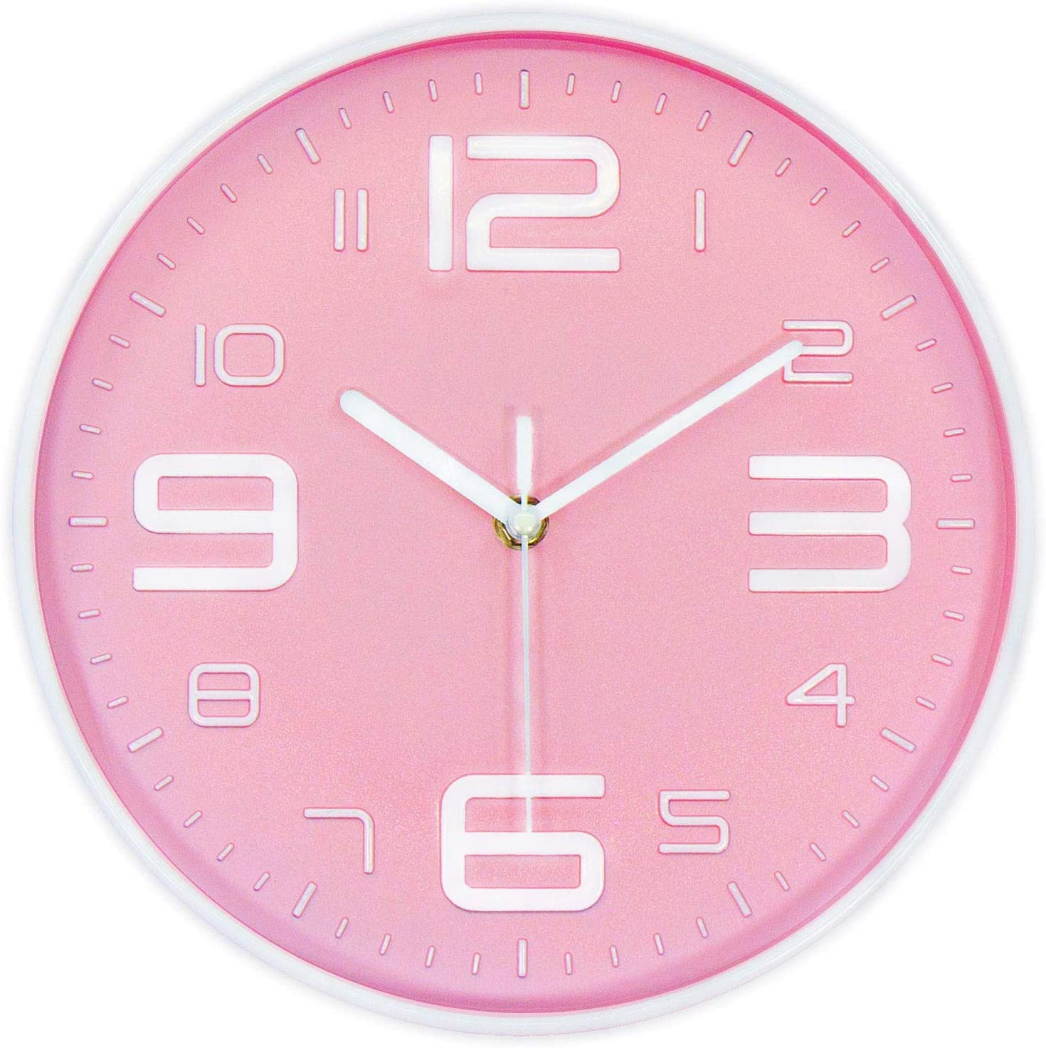 45Min 10 Inch 3D Number Dial Face Modern Wall Clock, Silent Non-Ticking Round Home Decor Wall Clock with Arabic Numerals, Colorful Dial Face (Pink)