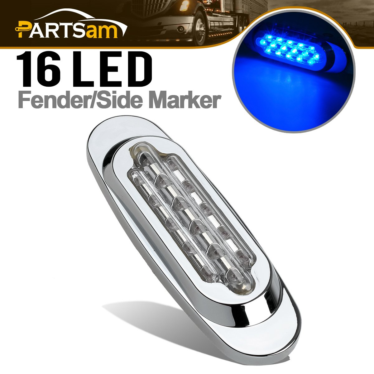 Partsam Blue Led Light Oval Marker Clearance Light Chrome Trim Ring Flush Mount Clear Lens