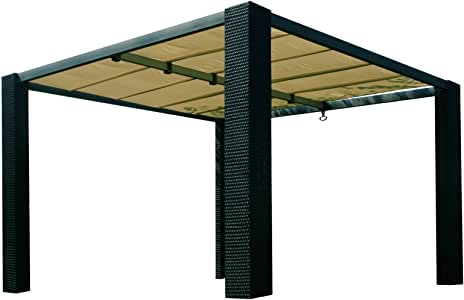 Toldo de polirratán de Benedom, 3, 5 x 3, 5 m, color antracita: Amazon.es: Jardín