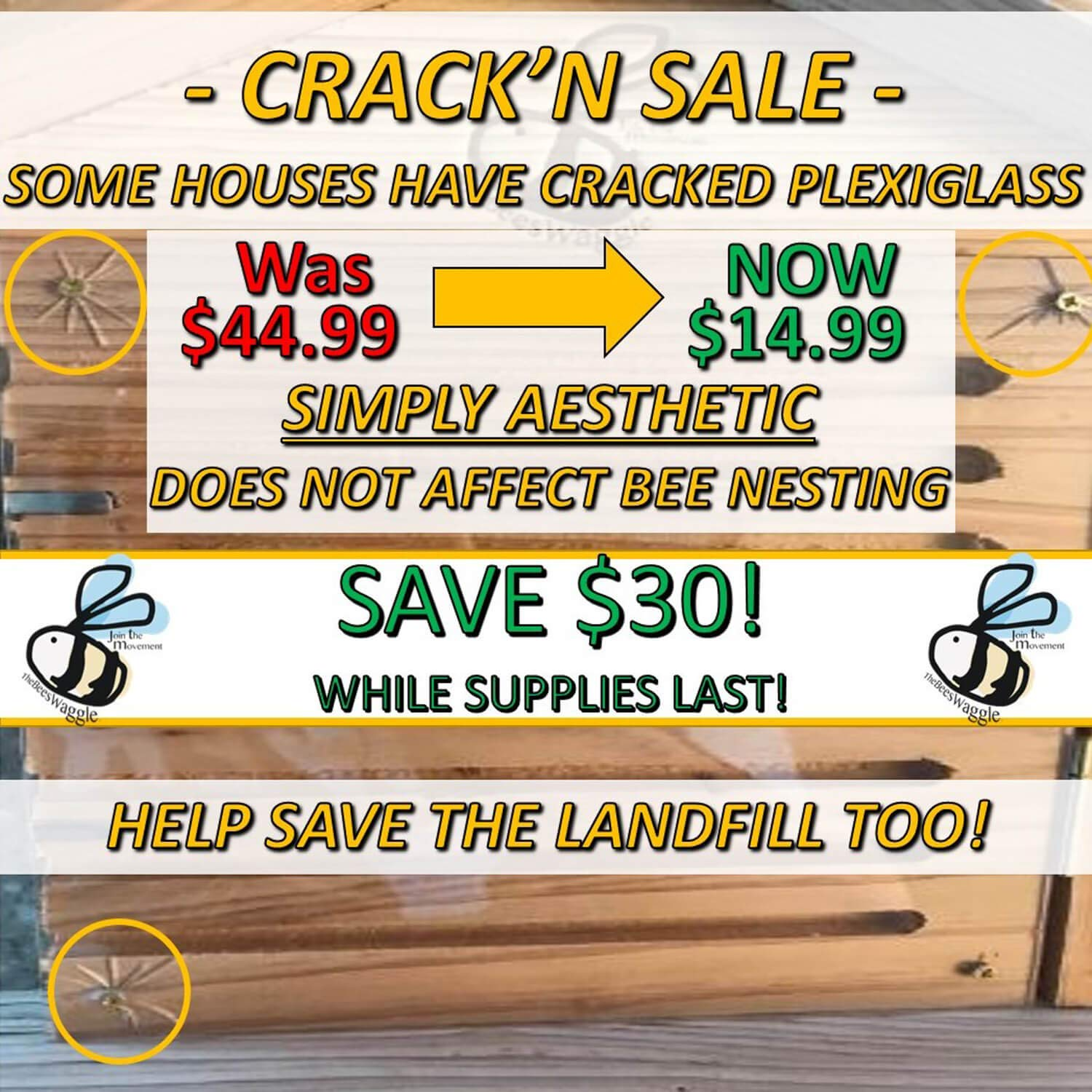CRACK'N Special - Save $30 Now - Mason Bee House for Solitary Bees - Bonus Viewing Window, Wildflower Seeds, Guide - Wooden Beeblock Bee Home Nest to Attract Wild Native Bees to Garden - Great Gift by The Bees Waggle (Image #3)