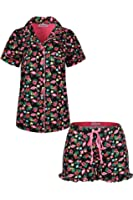 SofiePJ Women's Printed Cotton Short Sleeve Notch Collar Button-Down Pajama Shirt & Short Pants Set