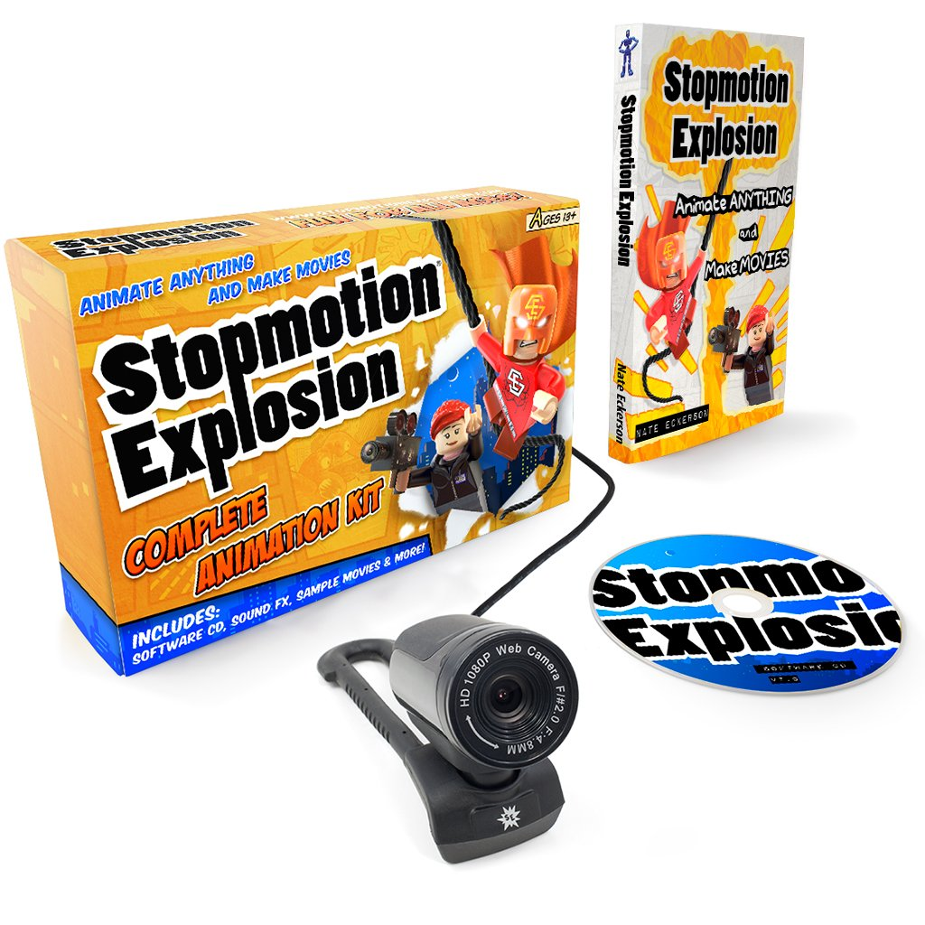Stopmotion Explosion: Complete HD Stop Motion Animation Kit | Stop Motion Animation Software with Full HD 1080P Camera, Animation Software & Book (Windows & OS X) by Stopmotion Explosion