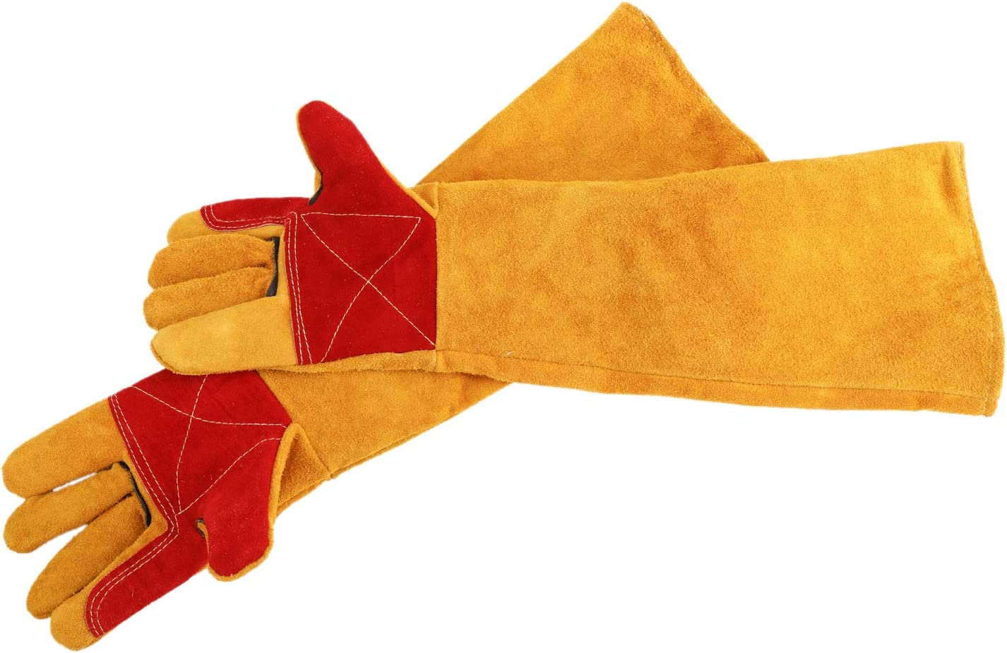 23.6 Long Sleeves Leather Forge Welding Safety Gloves Flannelette Lined Welders Gauntlets Wood Burners Accessories Gloves Heat//Fire Resistant Stove//Fire//Pot Holder//Tig Welder and Barbecue Gloves