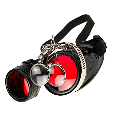 Gafas de Sol Welding Cyber Goggles Steampunk Goth Cosplay Sunglasses Round Glasses Party Fancy Dress MFAZ Morefaz Ltd (Black Loupe): Salud y cuidado personal