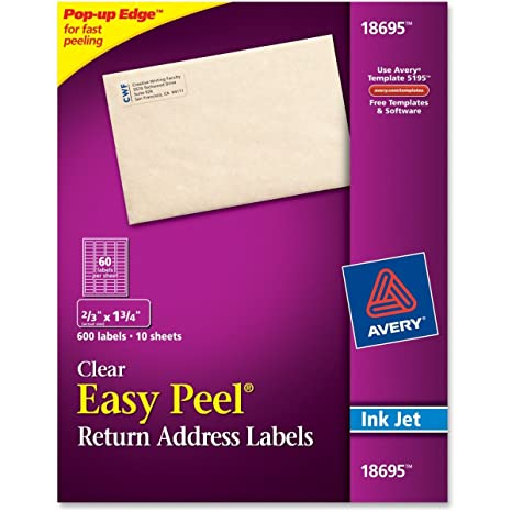 amazon com avery 18695 2 3inchx1 3 4inch clear easy peel mailing