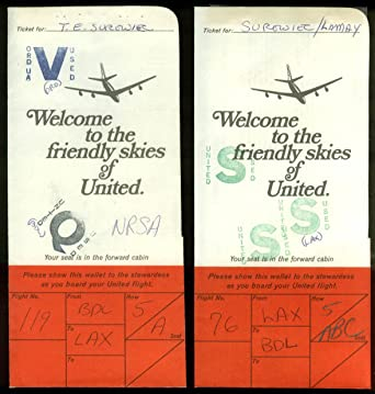 2 United Air Lines airline ticket wrappers flown BDL-LAX