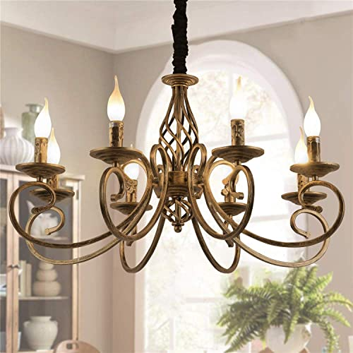 Ganeed Rustic Chandeliers,8 Lights Candle French Country Chandelier,Vintage Iron Pendant Light Fixture Hanging Light