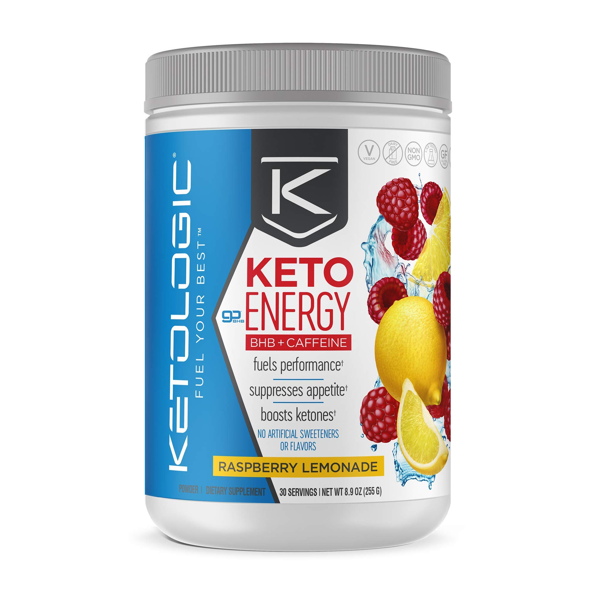 KetoLogic KetoEnergy BHB with Caffeine, Raspberry Lemonade | Beta-Hydrobutyrate Salts Ketone Powder Supplement | Supports Low-Carb, Keto Diet & Pre-Workout | 30 Servings