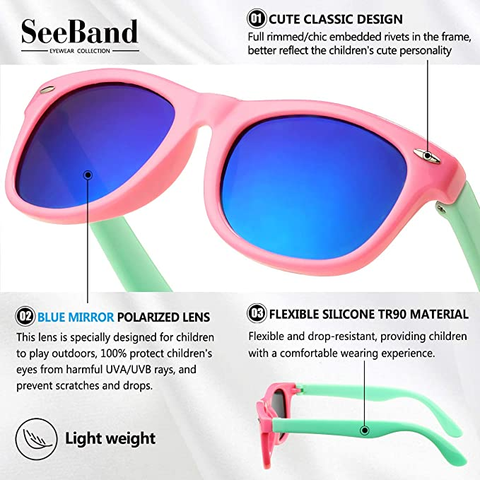 SeeBand Kids Polarized Sunglasses TPEE Rubber Flexible Frame for Age 3-12