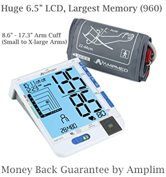 Amplim Best Fully Automatic Upper Arm Blood Pressure Monitor Plus Universal Cuff (Small – X