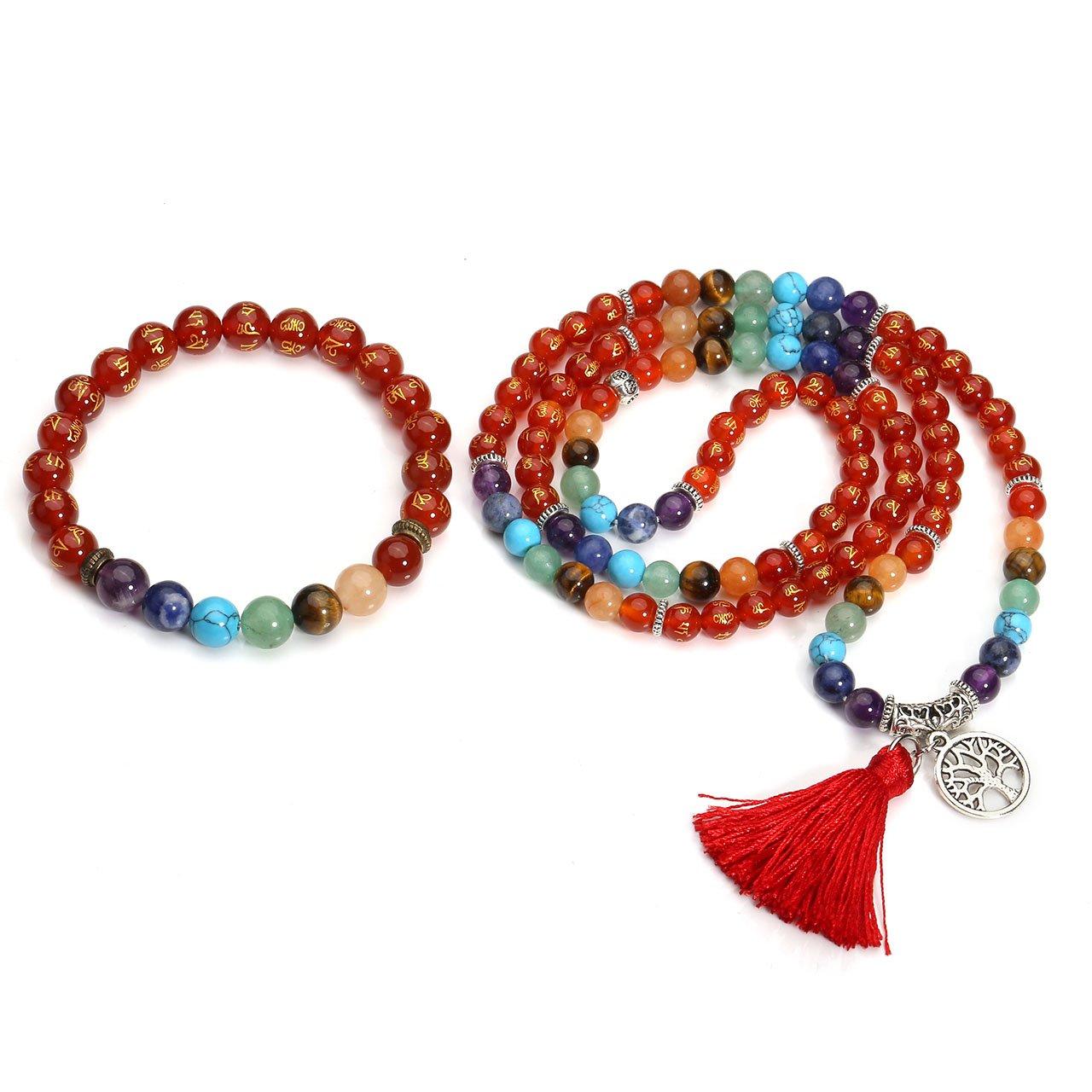 Jovivi 6mm Natural Red Agate Gemstones Om Mani Padme Hum Buddhist Prayer 108 Beads Tibetan Mala Necklace w/Tree of Life Charm + 7 Chakra Healing Crystal Bracelet