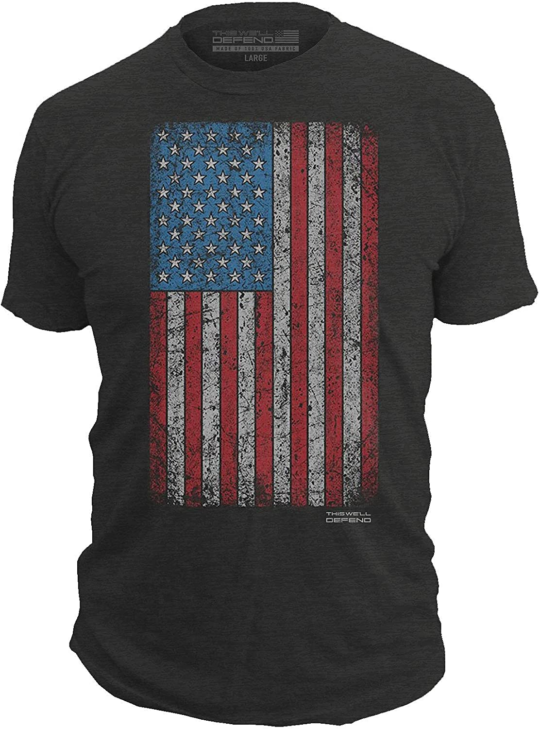 This We'll Defend - Vintage American Flag - Made of USA - Mens 52/48 Premium T-Shirt, Black Heather