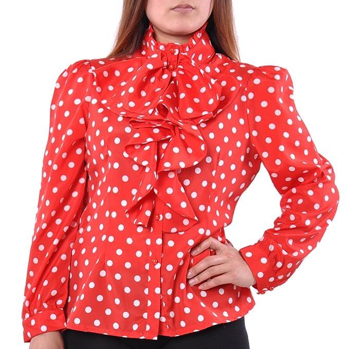 3793db323b3d82 May Maya Women s Ruffle Front Polka Dot Print Top Shirt Blouse Plus Size  Curve +Size (