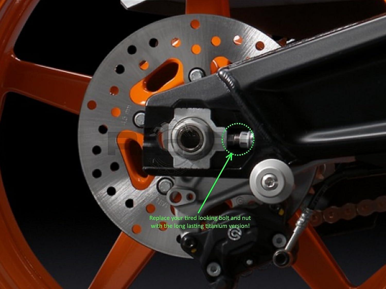 Yamaha Yzf R125 08-09 RacePro Green Titanium Axle Chain Adjuster Bolts