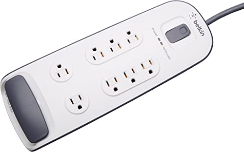 Belkin 8-Outlet Surge Protector with Telephone Protection, 6ft Cord, White